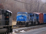 Two Blues shifting cars on the East end of Allentown Yard